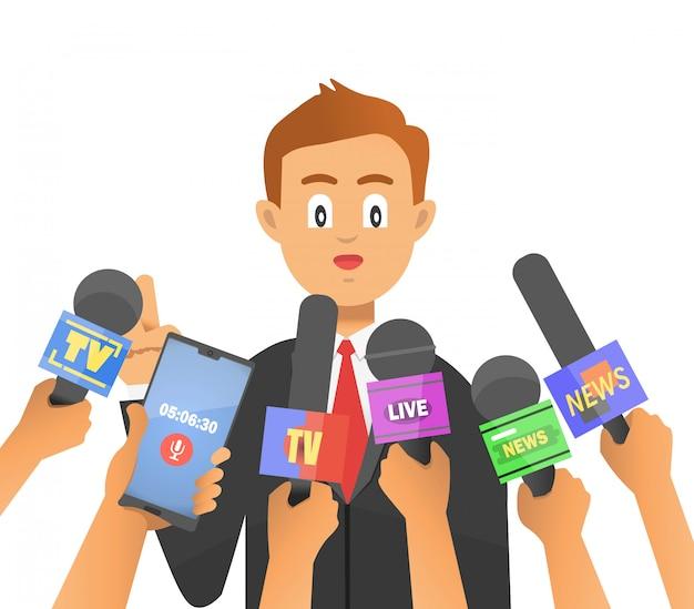 Ein geschäftsmann oder ein männlicher politiker wird von den medien interviewt.