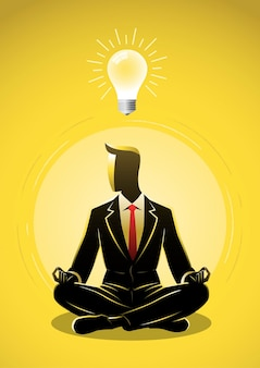 Ein geschäftsmann sitzt in lotus-pose-meditation und einer glühbirnen-idee über der konzeptillustration