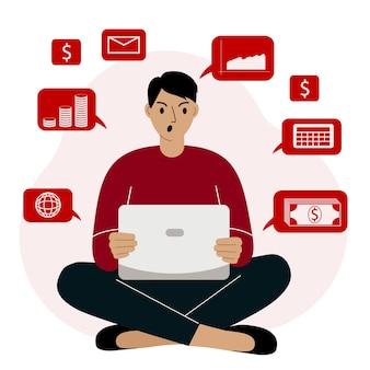 Ein gescheitertes internet-geschäft, ein mann, der von zu hause aus an einem laptop arbeitet, der nicht m