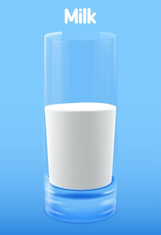 Ein glas milch . illustration lokalisiert auf hintergrund.