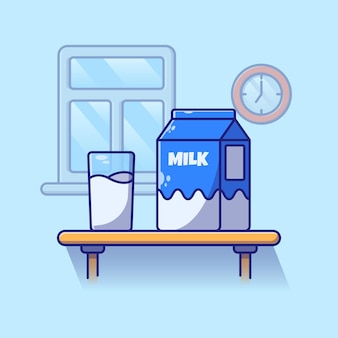 Ein glas milch und eine milchkiste auf einem tisch zum frühstück