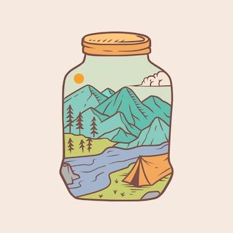 Ein glas natur monoline abzeichen