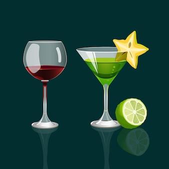 Ein glas rotwein und ein cocktailgetränk mit karambolen auf glas und grüner limette