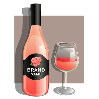 Ein glas und eine flasche roséwein