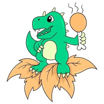 Ein glücklich lächelnder dinosaurier, der einen gebratenen hühnerschenkel zum verzehr bereit hält, vektorillustrationskunst. doodle symbolbild kawaii.