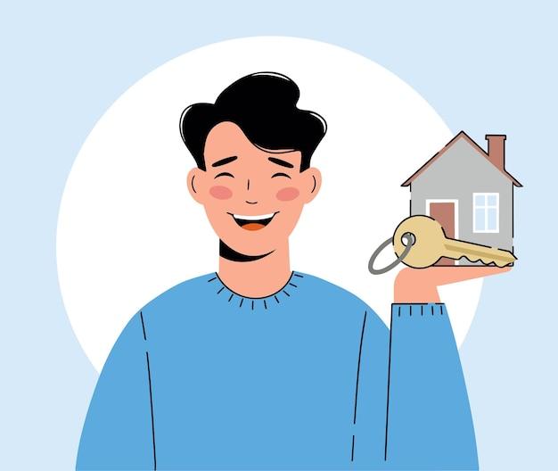 Ein glücklicher mann hält ein neues haus und einen schlüssel in den händen.