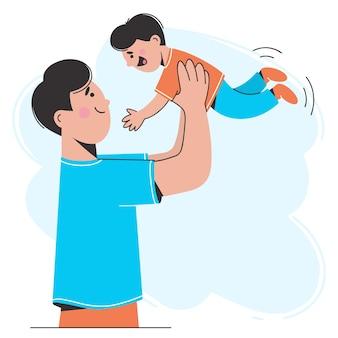 Ein glücklicher vater spielt mit seinem sohn, wirft ihn in die luft. das konzept einer freundlichen familie. illustration im flachen stil.