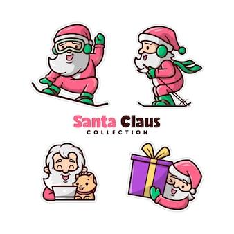 Ein glückliches gesicht santa claus spielt ski und arbeitet in der weihnachts-tagesammlung