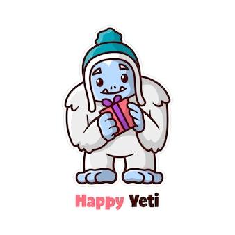 Ein glückliches gesicht yeti monster bringt eine weihnachts-illustration