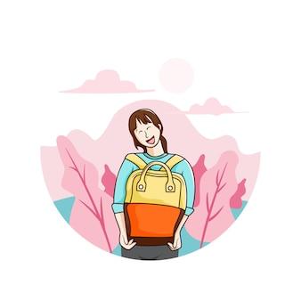 Ein glückliches lächeln kehrt zurück, wenn sie zur schule zurückkehren