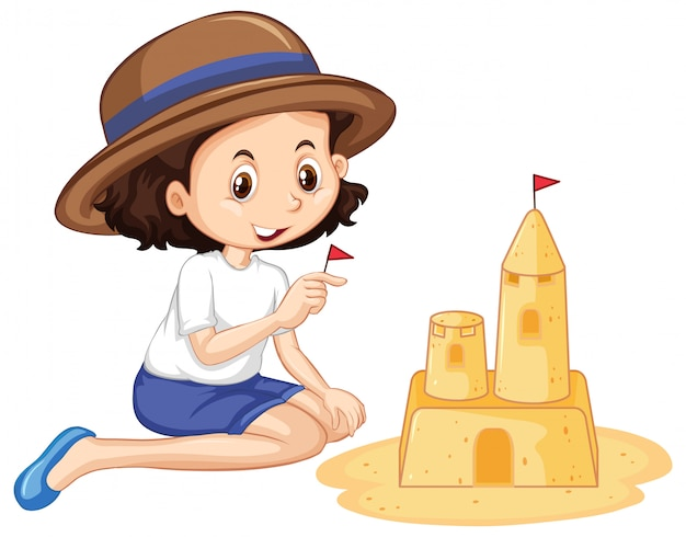 Ein glückliches mädchen, das sandburg spielt