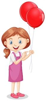 Ein glückliches mädchen mit roten ballonen