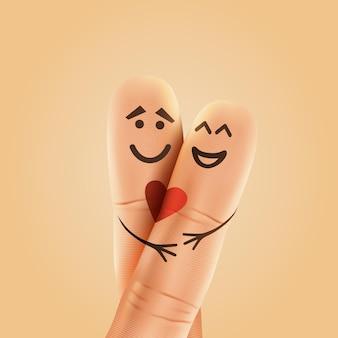 Ein glückliches paar verliebt in gemalte smileys und umarmungen