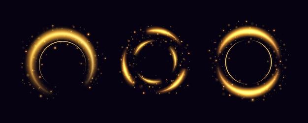 Ein goldener blitz fliegt in einem kreis in einem leuchtenden ring.