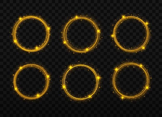 Ein goldener blitz fliegt in einem kreis in einem leuchtenden ring