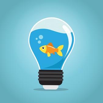 Ein goldener fisch, der im wasser einer birne schwimmt