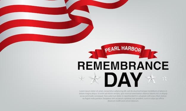 Ein grauer hintergrund mit der amerikanischen flagge und dem jubiläum des perlenhafens.