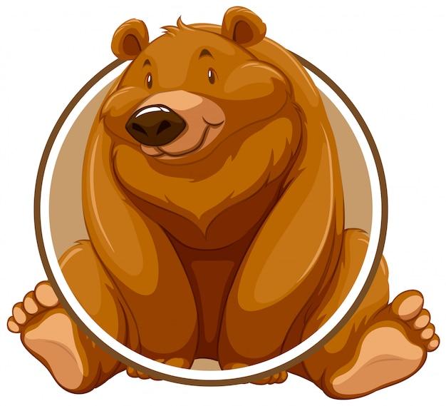 Ein grizzlybär-kreisaufkleber