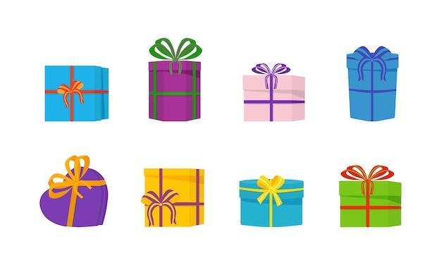 Ein großer haufen schöner geschenkboxen auf weißem hintergrund.