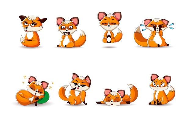 Ein großer satz süßer rotfüchse im cartoon-stil in verschiedenen posen und emotionen. vektor-illustration