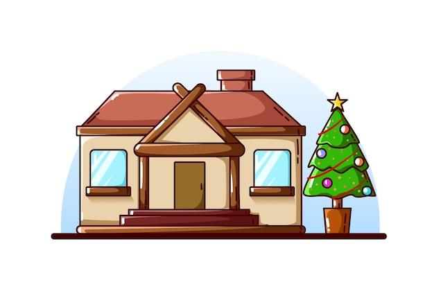 Ein großes haus und weihnachtsbaum mit dekorationen