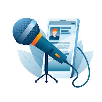 Ein großes mikrofon ist mit einem mobiltelefon verbunden