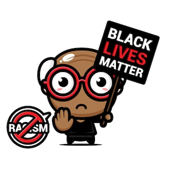 Ein großvater mit einem symbol des rassismus blieb stehen