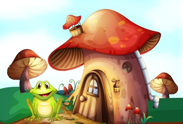 Ein grüner frosch nahe einem pilzhaus