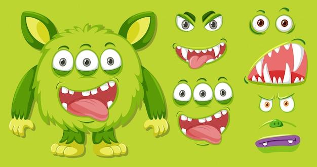 Ein grünes monster und gesichtsset