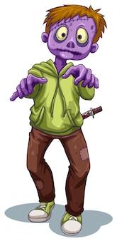 Ein gruseliger zombie mit einem messer