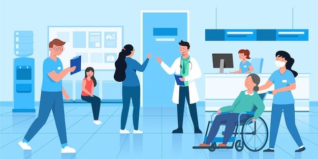 Ein gutes krankenhaus verfügt über ein klares verfahrensdienstsystem und öffentliche gesundheitsstandards.