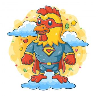 Ein hahn, der superheldenkostüm trägt und auf wolke steht