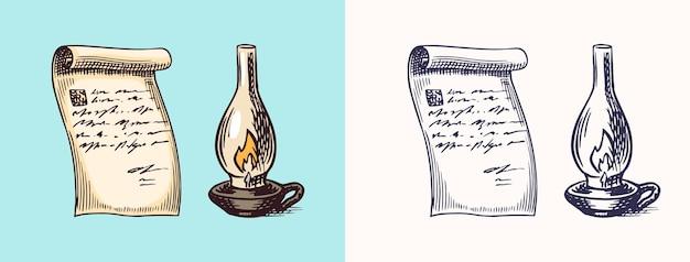Ein handgeschriebener briefbrief auf papier und petroleum- oder paraffinlampe in vintage-gravur-nachricht