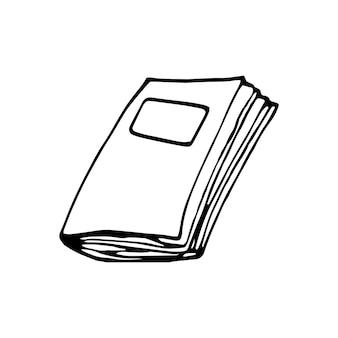 Ein handgezeichnetes buch. doodle-vektor-illustration im süßen skandinavischen stil. element für grußkarten, poster, aufkleber und saisonales design. isoliert auf weißem hintergrund