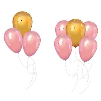 Ein haufen realistischer rosa und goldener luftballons