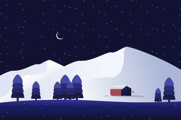 Ein haus auf weißem berg mit kiefernwald und sternenklarer nachtlandschaft