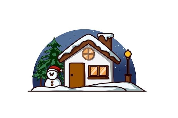 Ein haus mit einem schneemann und einer tanne am heiligabend