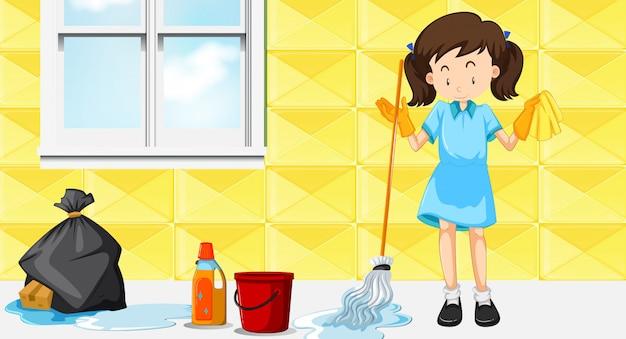 Ein hausmädchen reinigungshaus