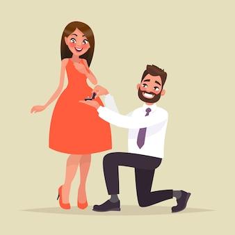 Ein heiratsangebot. mann schlägt eine frau vor, um ihn zu heiraten und gibt einen verlobungsring. im cartoon-stil