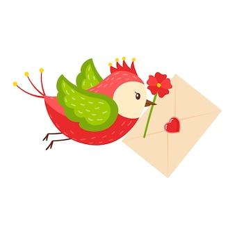 Ein heller cartoonvogel trägt ein buchstabenherz und eine rote blume im schnabel