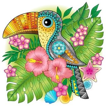 Ein heller dekorativer tukan zwischen exotischen pflanzen und blumen. bild zum drucken auf kleidung, textilien, plakaten, einladungen