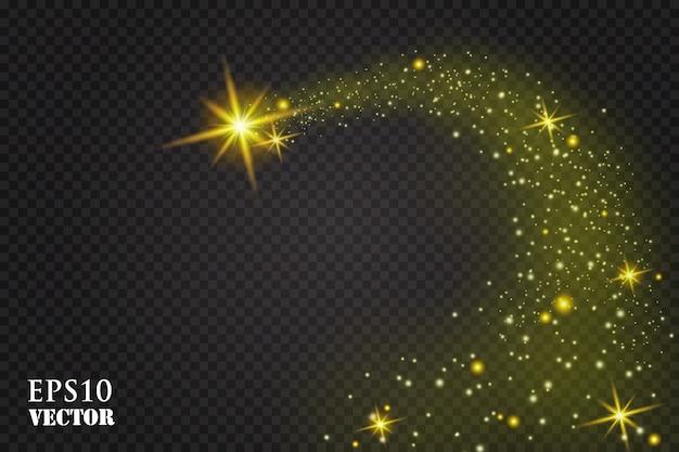 Ein heller komet mit. fallender stern. glühlichteffekt. illustration