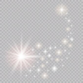 Ein heller komet mit. fallender stern. glühlichteffekt.