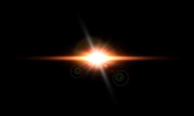 Ein heller lichtblitz flackert auf einem transparenten hintergrund für illustrationen und hintergründe.