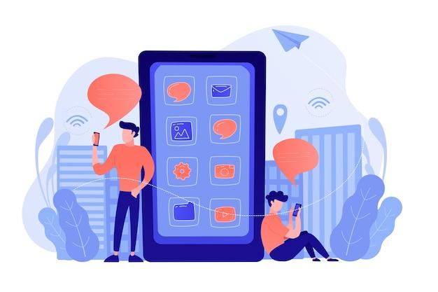 Ein herren in der nähe eines riesigen smartphones mit anwendungssymbolen auf dem bildschirm, die soziale medien und newsfeeds überprüfen. social media, news-tipps, iot und smart city-konzept. vektorillustration.