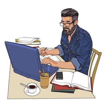 Ein hippie-mann in einer jeansjacke sitzt an einem tisch. schriftsteller, journalist, gelehrter, student schreiben seine arbeit im computer. arbeiten sie im internet. auf dem tisch viel papierkram. der prozess des studiums