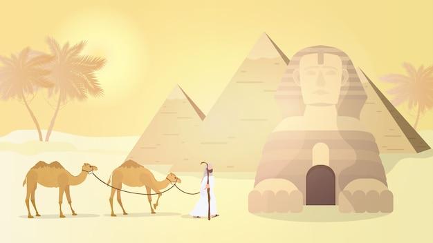 Ein hirte führt kamele durch die wüste. ägyptische pyramiden, sphinx.