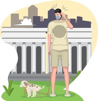 Ein hund kackt, während er mit seinem besitzer draußen spazieren geht