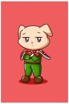Ein hund mit einem flachen gesicht, das ein weihnachtskostüm trägt