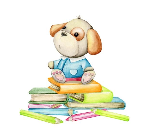 Ein hund sitzt auf büchern und stiften, ein aquarellkonzept auf einem isolierten hintergrund, in einem karikaturstil.